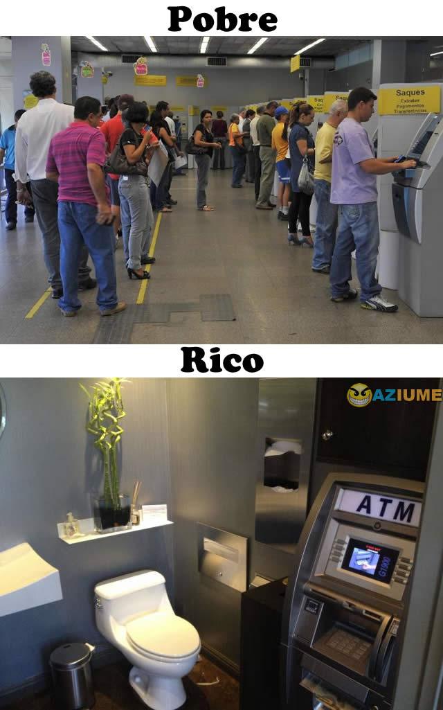 Diferença entre Pobre e Rico no caixa eletrônico