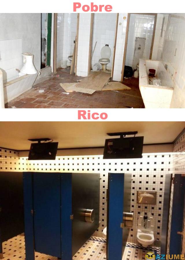 Diferença entre banheiro publico do pobre e rico