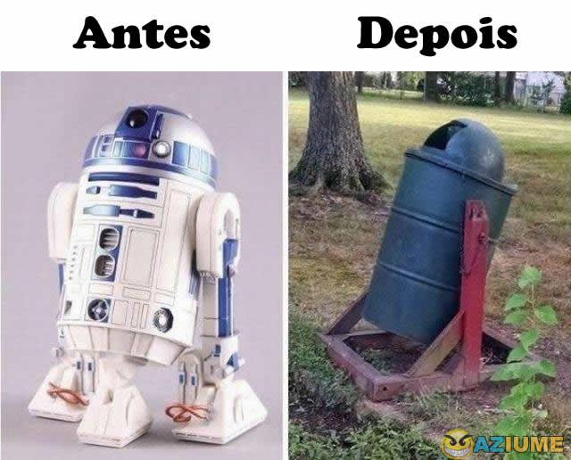 Antes e depois do R2-D2