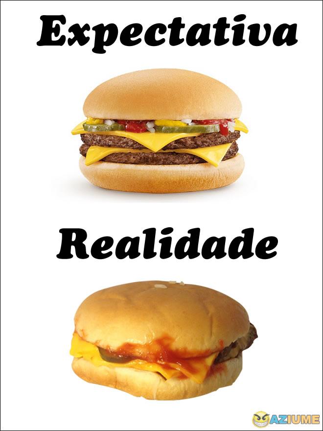 Expectativa Vs Realidade do hambúrguer