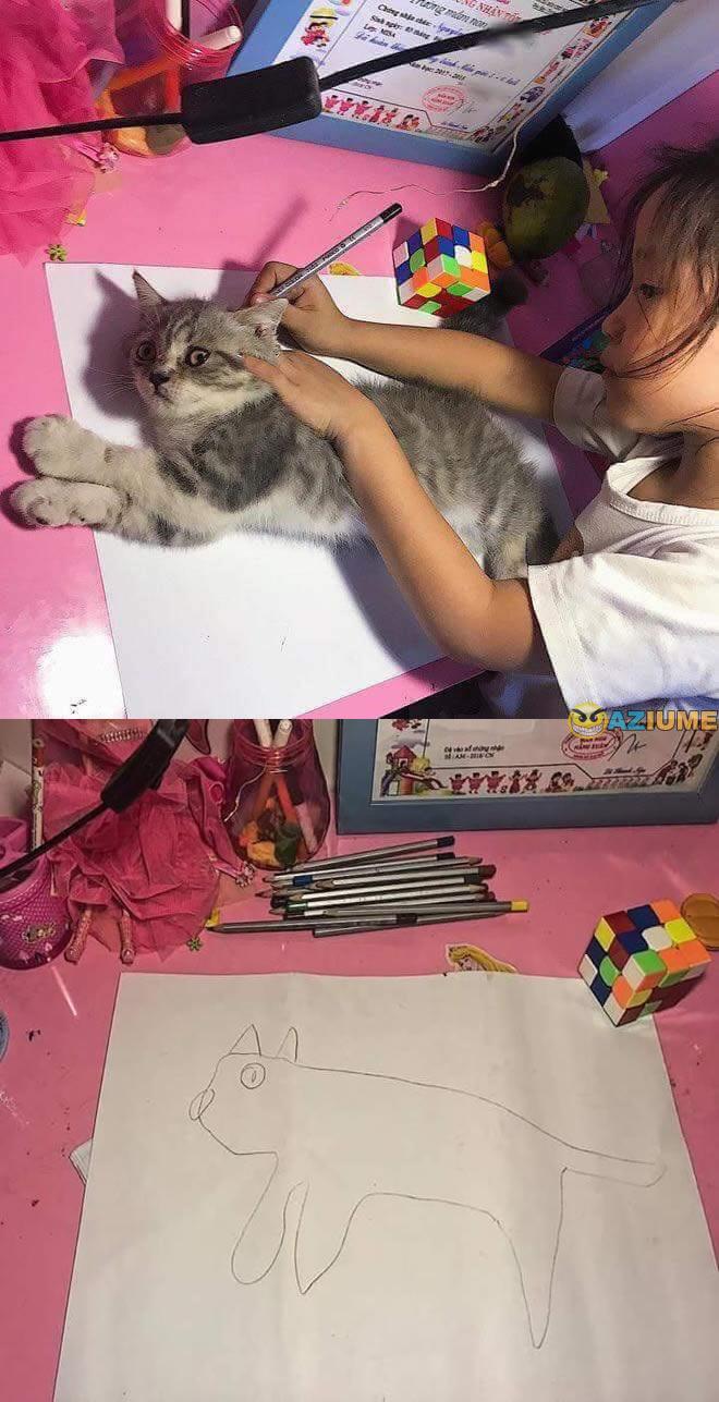 Minha filha desenhado um gato