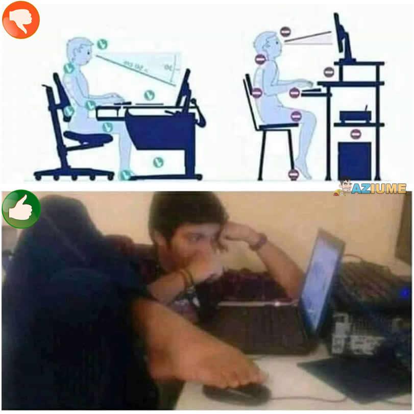 O modo correto de sentar na frente do computador