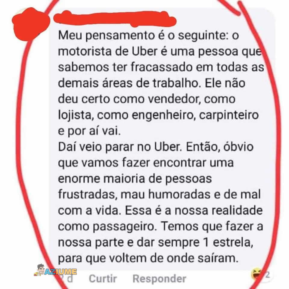 Pensamento de um passageiro de Uber