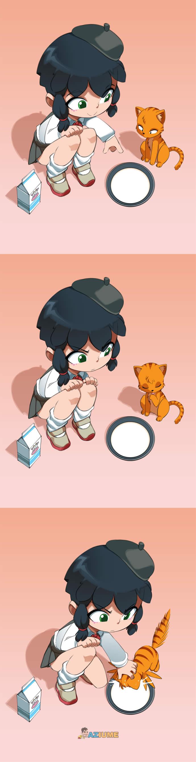 Ensinando o gato beber leite