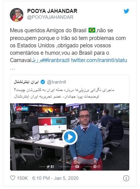 Jornalista iraniano que mostrou tuítes de brasileiros no ar escreveu uma mensagem pra nós