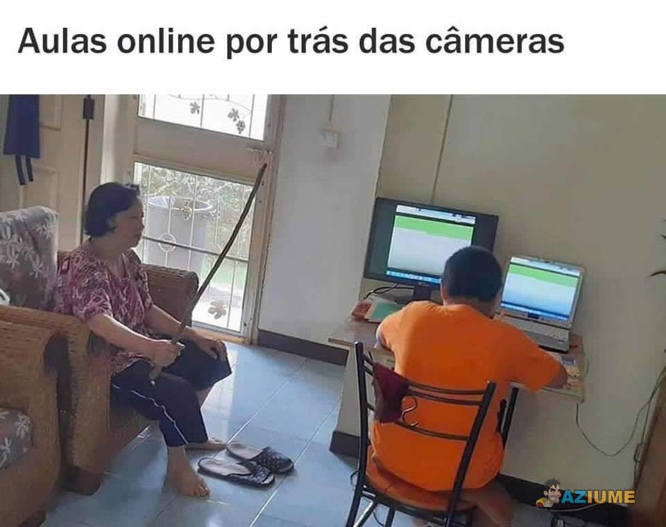Por trás das aulas online