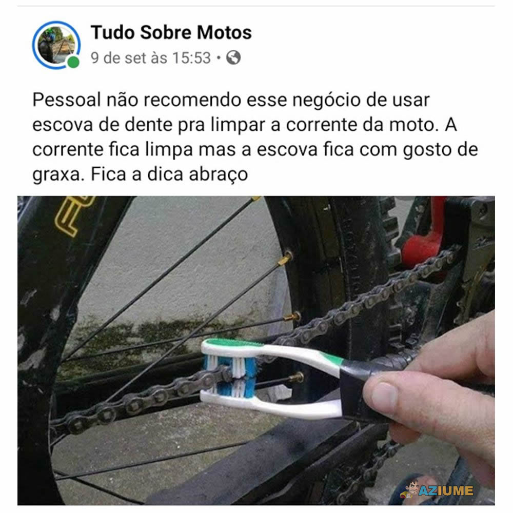 Dica do dia: Não limpa a corrente da moto com a escova