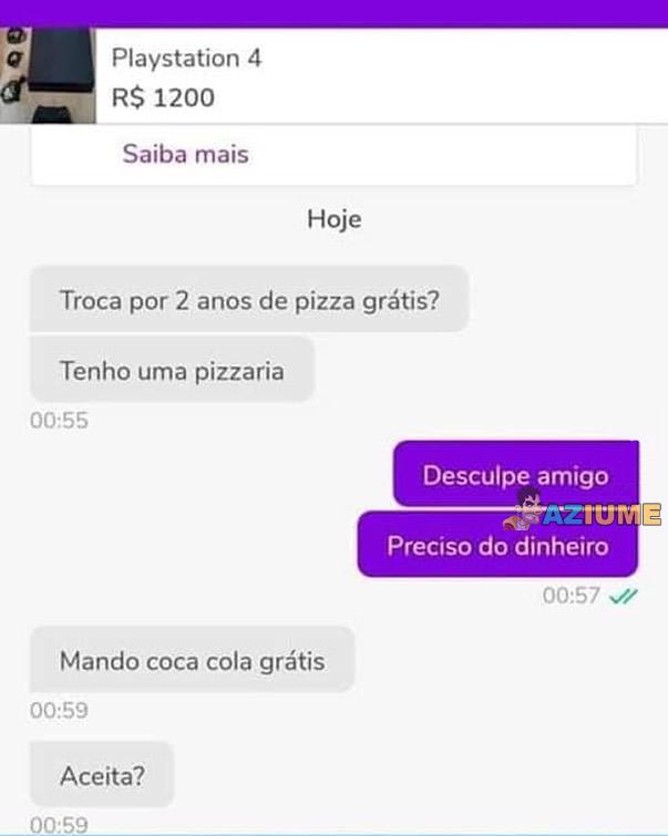 Troca pizza por PS4?