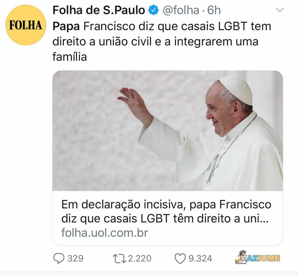 Papa Francisco diz que casais LGBT