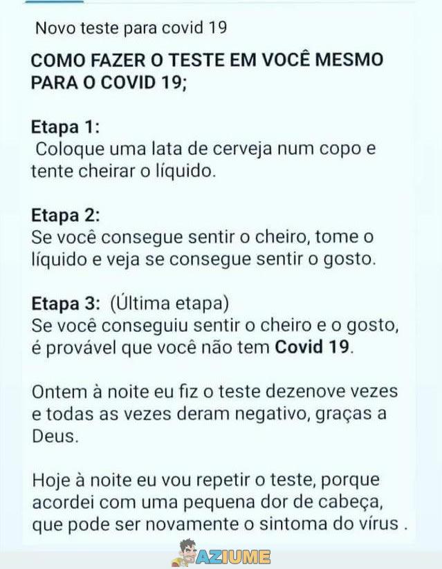 Como fazer o teste em você mesmo para o COVID 19