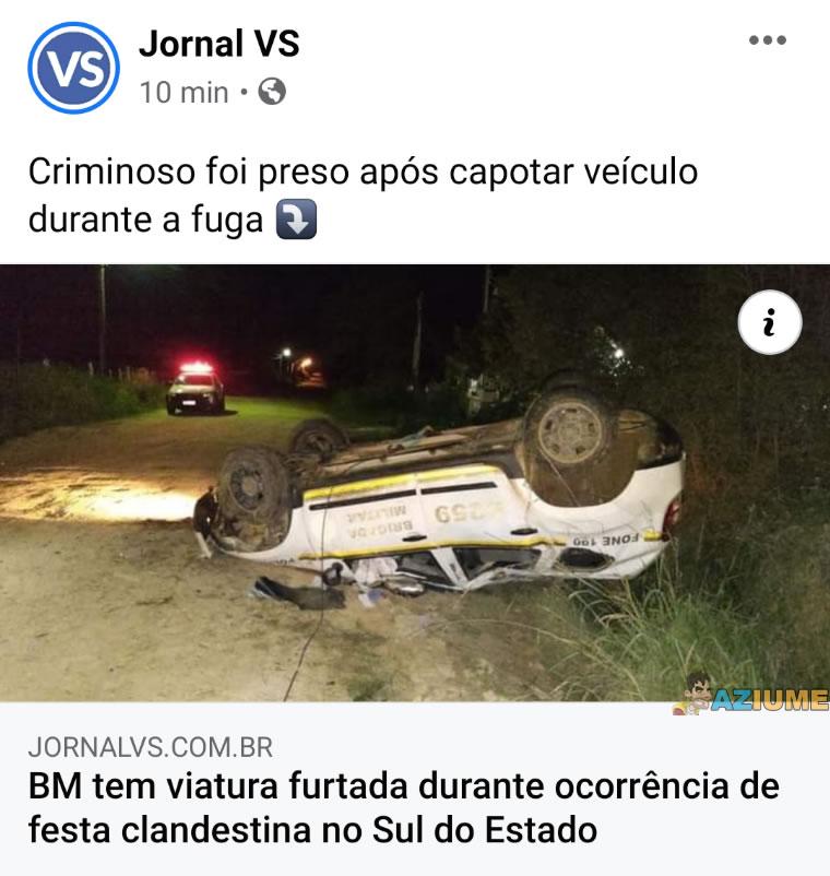 O criminoso foi preso após capotar o carro