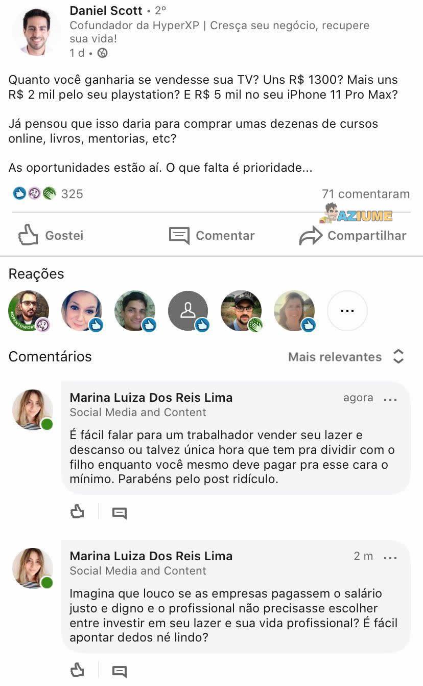 Marina do céu, na cara não